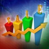 рост диаграммы в виде вертикальных полос 3D и продаж Стоковые Изображения RF