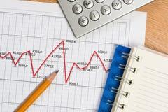 Рост карандаша и диаграммы, бизнесмен рабочего места Стоковые Изображения