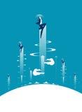 рост Летание бизнесмена в небо Дело концепции иллюстрация штока