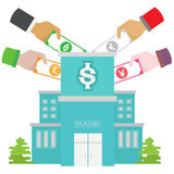 Рост сейфа банка валюты установил в много цветов Стоковая Фотография RF