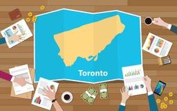 Рост экономики региона города Торонто Онтарио с командой обсудить на взгляде карт створки от верхней части иллюстрация вектора