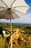 Ротанг ослабляет стул установленный с зонтиком Стоковые Фотографии RF