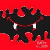 Рот вампира с клыками Пропускать вниз с крови карточка halloween Дизайн пугающей предпосылки плоский бесплатная иллюстрация
