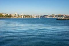 Рот реки Дуэро около Порту, моря океана Португалии Стоковые Фото