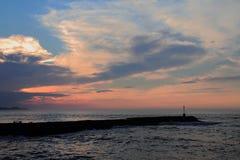 Рот реки Kowie в порте Альфреде Южной Африке на восходе солнца стоковое изображение rf