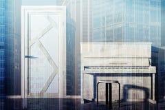 Рояль в пустой живущей тонизированной комнате иллюстрация штока