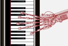 рояль руки играя робот иллюстрация вектора