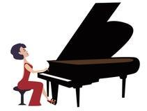рояль играя женщину иллюстрация штока