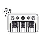 Рояль Игрушка младенца музыкального инструмента Тип шаржа иллюстрация штока