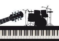 Рояль и барабанчики гитары иллюстрация штока