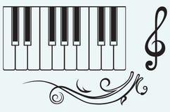 Рояль и дискантовый ключ иллюстрация вектора