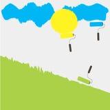 3 ролика рисуют зеленый цвет травы солнца желтый небесно-голубой Стоковое Изображение RF