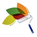 Ролик краски и естественный дизайн иллюстрации листьев Стоковые Изображения RF