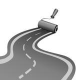 Ролик рисует асфальт-вымощенную дорогу Стоковые Фото