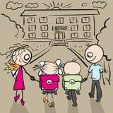 Родители и дети идут к школе Стоковые Изображения