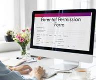 Родительская концепция подтверждения согласия формы разрешения стоковая фотография rf