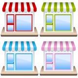 Родовой комплект иконы здания магазина Стоковые Изображения