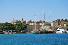 Родос. Панорама старого городка стоковая фотография
