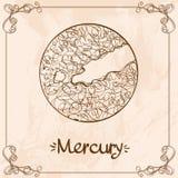 ртуть Винтажный стилизованный чертеж плана Меркурия Символы астрологии и астрономии иллюстрация вектора