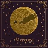ртуть Стилизованная иллюстрация Меркурия в стиле руки рисуя Символы астрологии и астрономии иллюстрация вектора