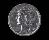 ртуть 1943 монета в 10 центов головная Стоковое Изображение RF