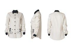 Рубашка белых женщин в 3 углах стоковые изображения rf