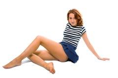 рубашка девушки красотки материальная stripes белизна t стоковое изображение rf