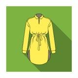 Рубашка женщин s с поясом для домашнего хозяйства Пакостная белая рисберма для женщин Значок одежды женщин одиночный в плоском ве Стоковое Изображение