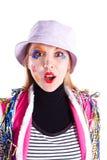 рубашка Панамы шлема девушки клоуна Стоковые Фотографии RF