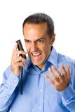 рубашка телефона голубого клетчатого человека возмужалая Стоковое Изображение
