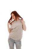 рубашка t девушки серая стоковые фото