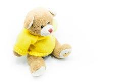 Рубашки желтого цвета носки игрушки плюшевого медвежонка Брайна сидя на белизне Стоковые Изображения