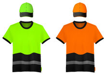 Рубашки и шляпы безопасности отражательные. иллюстрация вектора