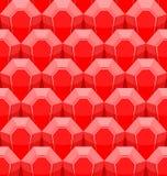 Рубиновая безшовная картина Предпосылка вектора красных самоцветов Стоковые Фото