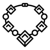 Рубиновый значок ожерелья драгоценной камня, стиль плана иллюстрация вектора