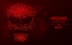 Рубить систему Абстрактный, светящий череп красного цвета от программируя символов Шестнадцатиричная номерная система Данные под  иллюстрация вектора