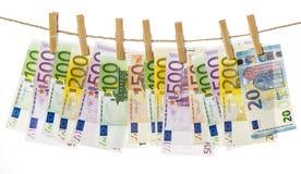 5000 рублевок картины дег счетов предпосылки Висеть банкнот евро Стоковая Фотография