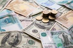 Рубль долларов евро Стоковые Изображения