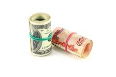 Рубль долларов евро Стоковые Фото