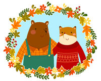 друзья лисы и медведя Стоковые Изображения RF
