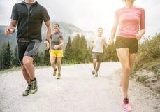 4 друз бежать с дороги на горах Стоковое Изображение RF