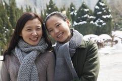 2 друз в парке предусматриванном в снежке, портрете Стоковое Изображение RF