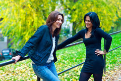 2 друз женщины снаружи Стоковое Изображение