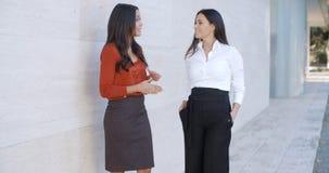 2 друз женщин стоя беседующ Стоковые Изображения RF