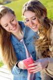 2 друз имея потеху с smartphones Стоковая Фотография RF