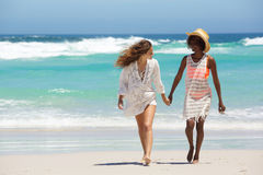 2 друз идя совместно на пляж Стоковая Фотография