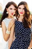 2 друз маленьких девочек нося славные платья стоковая фотография