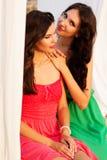 2 друз маленьких девочек нося славные платья стоковое изображение rf
