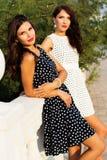 2 друз маленьких девочек нося славные платья Стоковые Изображения