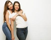2 друз маленькой девочки стоя совместно и имея потеху Стоковая Фотография RF